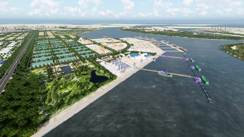 Panorama of Nam Dinh Vu liquid jetty and modern facilities